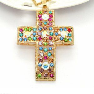 Jewelry - Colorful Crystal Cross Rhinestone Necklace